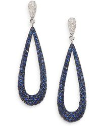 Effy - Diamond, Sapphire & 14k White Gold Drop Earrings - Lyst