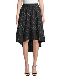 Kenneth Cole - Grommet-print High-low Cotton Skirt - Lyst