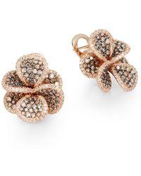 Effy - 2.77 Tcw Espresso Diamond, White Diamond & 14k Rose Gold Petal Earrings - Lyst