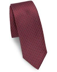 Saks Fifth Avenue - Dotted Circle Silk Narrow Tie - Lyst