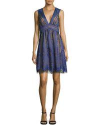 BCBGMAXAZRIA - Deep V-neck Lace Dress - Lyst