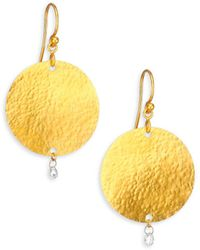 Gurhan - Lush Diamond & 24k Yellow Gold Dangling Flake Drop Earrings - Lyst