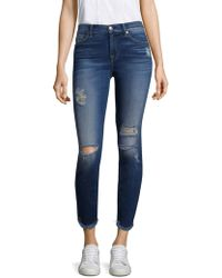 7 For All Mankind - Ankle Skinny Ripped Jeans - Lyst