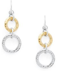 Gurhan - 24k Gold & Sterling Silver Circle Drop Earrings - Lyst