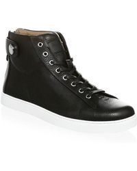 Gianvito Rossi - Grain Leather Strap Mid Sneakers - Lyst