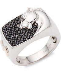 Effy - Black Sapphire Leopard Sterling Silver Ring - Lyst