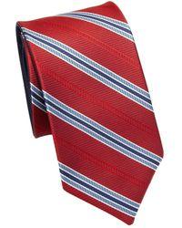 Saks Fifth Avenue - Double Face Stripe Silk Tie - Lyst