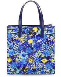 59dbfa05dcd9 Prada - Leather-trimmed Floral Shopping Tote Bag - Lyst