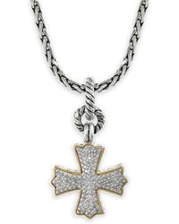 Effy - Diamond, Sterling Silver And 18k Yellow Gold Pendant Necklace, 0.35 Tcw - Lyst