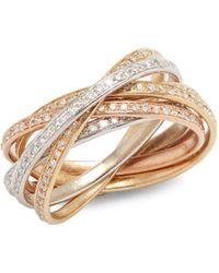 Effy - Diamond & 14k White Yellow & Rose Gold Ring - Lyst