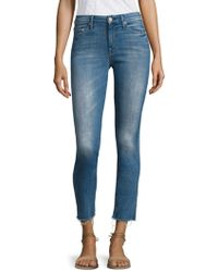 Mother - Looker Frayed Ankle Distressed Skinny Jeans - Lyst