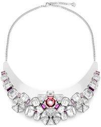 Swarovski - Clear & Pink Crystal Bib Necklace - Lyst