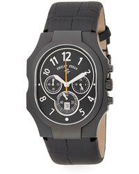 Philip Stein - Stainless Steel & Leather Strap Quartz Watch - Lyst