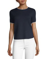Saks Fifth Avenue Black - Tipped Knit T-shirt - Lyst