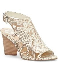 Vince Camuto - Ankara Snake-print Cutout Leather Sandals - Lyst