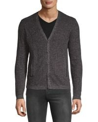 John Varvatos - Ribbed Cardigan - Lyst