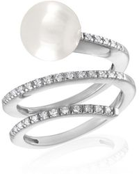 Majorica - 10mm White Organic Pearl & Crystal Spiral Ring - Lyst