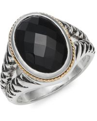 Effy - Onyx 18k Gold & Sterling Silver Solitaire Ring - Lyst