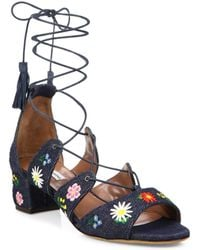 2eb208a4a911 Tabitha Simmons - Isadora Flower-embroidered Denim Lace-up Sandals - Lyst