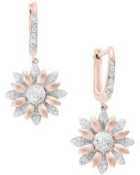 Effy - 14k Rose Gold, White Gold & Diamond Flower Earrings - Lyst
