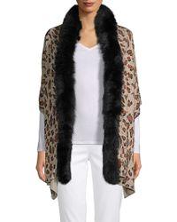 Adrienne Landau - Dyed Fox Fur-trimmed Printed Stole - Lyst