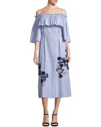 SUNO - Embroidered Off-shoulder Pinstripe Dress - Lyst