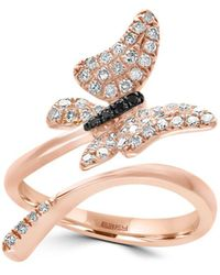 Effy - 14k Rose Gold And Diamonds Butterfly Ring - Lyst