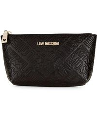 Love Moschino - Logo Embossed Zip Travel Pouch - Lyst