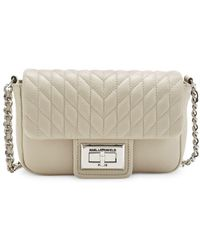 Karl Lagerfeld Agyness Faux Leather Crossbody Bag - Gray