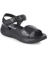 4e0ae0f168c28 Prada - Embellished Leather Platform Sandals - Lyst