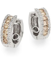 Effy | 0.92 Tcw Diamond & 14k White Gold Huggie Earrings | Lyst