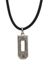 Hermès - Vintage Stainless Steel & Leather Cord Pendant Necklace - Lyst