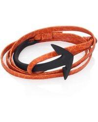 Miansai - Brass & Leather Noir Anchor Cuff Bracelet - Lyst