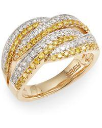 Effy - Yellow & White Diamond, 14k Yellow & White Gold Ring - Lyst