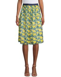 Draper James - Embroidered Floral A-line Skirt - Lyst