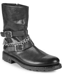 John Varvatos - Engineer Lugged Chain Leather Boots - Lyst