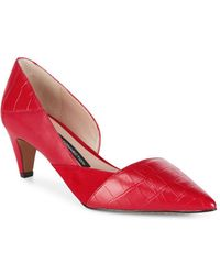 French Connection - Tessi Red Konelli Mixed Media Pointed Toe D'Orsay Pumps - Lyst