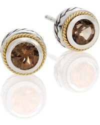 Effy - Smoky Quartz, Sterling Silver & 18k Yellow Gold Button Earrings - Lyst
