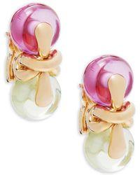 Estate Fine Jewelry - Marina B Vintage Nodo 18k Yellow Gold Drop Clip-on Earrings - Lyst