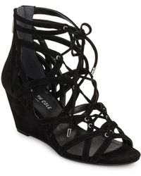 Kenneth Cole - Dylan Suede Cage Wedge Sandals - Lyst
