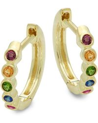 Meira T - Rainbow Multi-stone & 14k Yellow Gold Hoop Earrings - Lyst