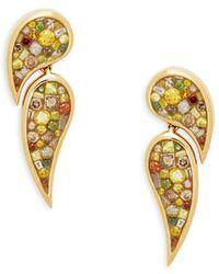 Plevé - Diamond 18k Yellow Gold Double Scorpio Drop Earrings - Lyst