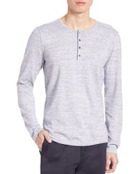 Vince - Sporty Jaspe Mix Stitch Henley Tee - Lyst