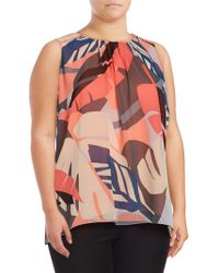 Chaus New York - Abstract Chiffon Shell - Lyst