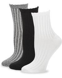 Hue - Three-pair Ribbed Sock Set - Lyst