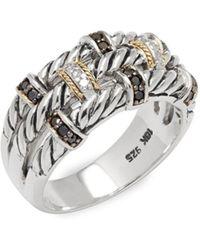 Effy - 18k Yellow Gold, 0.39 Tcw White & Black Diamond & Sterling Silver Ring - Lyst