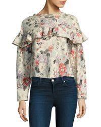 Rebecca Taylor - Ruffle Floral Sweatshirt - Lyst