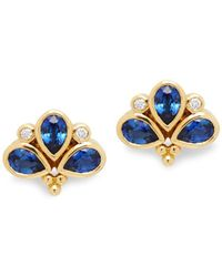Temple St. Clair - 14k Yellow Gold, 0.108 Tcw Diamond & Sapphire Stud Earrings - Lyst