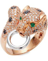 Effy - Diamond, Emerald And 14k White And Rose Gold Ring - Lyst