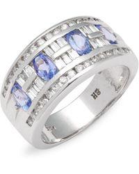 Effy - Diamond & 14k White Gold Banded Ring - Lyst
